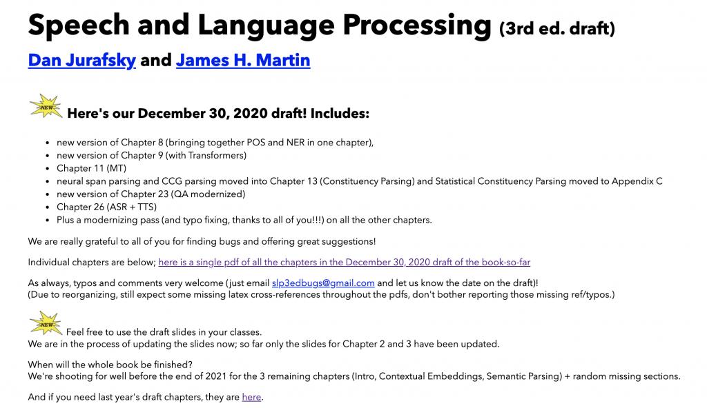 《自然语言处理综论(Speech and Language Processing)》第三版终于在2020年年底更新了的配图